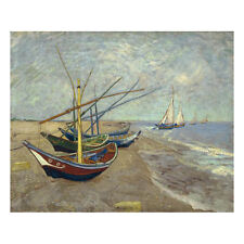 Canvas Print Wall Art Van Gogh Painting Repro Decor Seascape Fishing Boat Framed