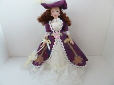 Dolls House Miniature 1:12 Scale Doll Lady Dressed in Purple & Off White (PD120)