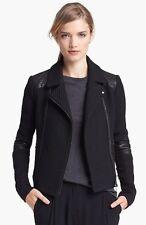$695+ VINCE bouclé Moto Wool Leather Trim Asymetrical Closure Jacket BLACK L