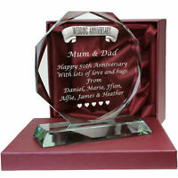 Engraved 50th Golden Wedding Anniversary Pewter Feature Glass Gift Fifty Year 50