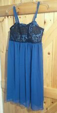 "New Gorgeous Royal Blue Party Dress by So Fabulous Size 14 Chest 38"" Black Detai"