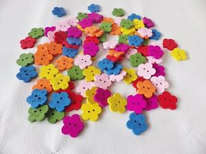 50pcs Wooden 18mm LOVE/FLOWER 2-hole Sew On Buttons: dress/cardmaking Mixed cols