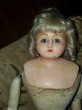 """New ListingAntique Paper Mache Head Doll 22"""" leather arms w Clothes & cradle"""