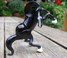Exquisite Vintage Animal de cristal de Murano Negro Caballo Árabe