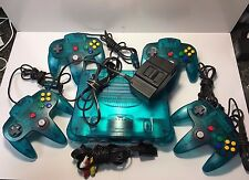 Nintendo 64 Ice Blue Console w/ 4 CONTROLLERS VERY MINT! FREE SHIPPING!