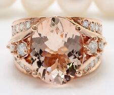 6.81CTW Natural Morganite and Diamond in 14K Solid Rose Gold Women Ring