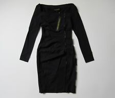 NWT Catherine Malandrino Black Label Psycho Noir Black Stretch Wool Dress 0 $590