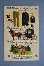 R&L Postcard: Birn Bros Planning a Marraige, Horse & Carriage Mens Clothing