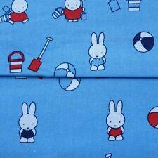"""MIFFY CHILDRENS PRINT BLUE 45"""" 100% COTTON BEACH FABRIC DRESS,CRAFT,QUILT D#284"""