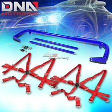 "BLUE 49""STAINLESS STEEL CHASSIS HARNESS ROD+RED 6-PT STRAP CAMLOCK SEAT BELT"