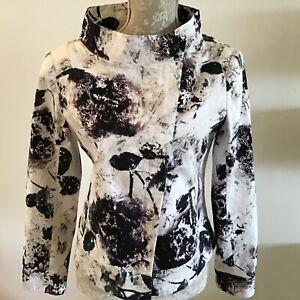 Isabel De Pedro White & Purple Printed Cotton Jacket - Size 14