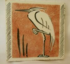 More details for aesthetic movement glazed hand painted heron tile, richards england early 1900s