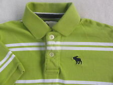 Abercrombie Kid's Boy's S/S Light Green & White Striped Polo Shirt - Youth Large