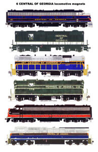 Central of Georgia Locomotives 6 Railroad magnets Andy Fletcher