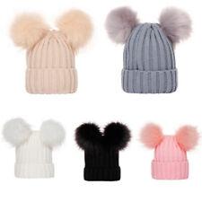 Baby Kids Girls Boys Winter Warm Knitted Hat Furry Balls Pompom Warm Beanie Cap