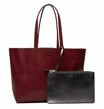LACOSTE Anna Cuir Shopping Bag Shopper Tasche Andalusian Red / Navy Blue Rot