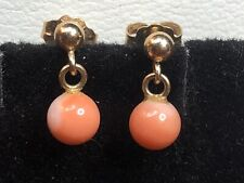VINTAGE ESTATE 14K GOLD  NATURAL ANGLE SKIN CORAL EARRINGS DROP DANGLE