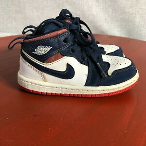 Jordan 1 Mid Toddler Olympic Youth Size 8C Shoes Blue Red White Athletic Sneaker