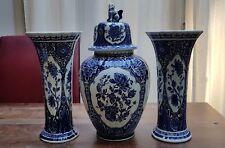 """Delfts Blue White Ginger Foo Dog Jar Urn 15"""" Vases 12"""" Boch Royal Sphinx Holland"""