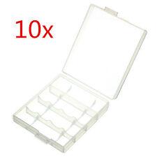 10 Pcs Hard Plastic Blue White Case Cover Holder Aa / Aaa Battery Storage Box