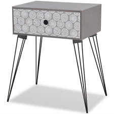 Retro Side Table Cabinet Storage Hallway Bedroom Nightstand Bedside Drawer Grey