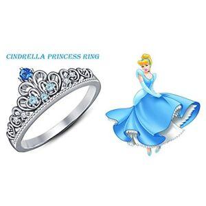Cinderella Disney Princess Ring Round Cut Multi-Stone 14K White Gold Plated