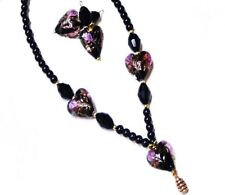 Necklace earrings set, lampwork Black and pink hearts, artisan, clip on pierced