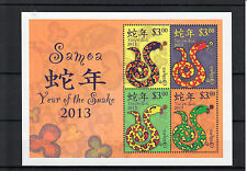 Samoa 2013 Mnh Year of Snake 4v M/S Chinese Lunar New Year