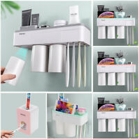 Magnetic Toothpaste Toothbrush Cup Holder Storage Rack Bathroom Wall Mount Stand