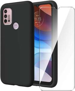 For Motorola Moto G30 Case, Black Silicone Phone Case Cover + 1 X Tempered Glass