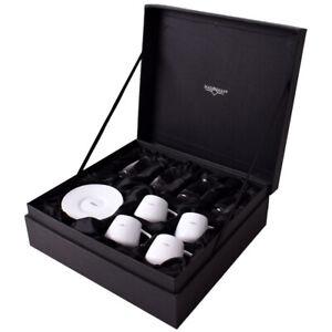 Marksman 12-teiliges Mokkatassen Espressotassen Set weiß Glas Gläser Geschenkbox