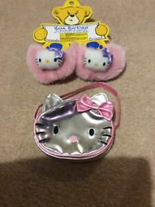 Build-A-bear Hello Kitty Silver Handbag Purse Fluffy Shoes Slippers Bear Factory
