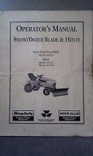 Simplicity Massey Ferguson Agco Allis Operator's Manual Snow/Dozer Blade & Hitch