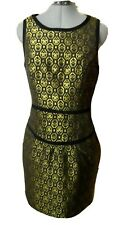 Nwt FOREVER21 Pencil Dress S Black Gold Jacquard Business wear Semi formal scoop