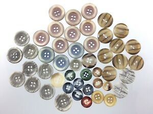 Vintage Molded Marbled Color Plastic Garment Button Size .75in Lot of 47 741C