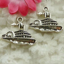 Free Ship 40 pieces Antique silver steamboat charms 24x20mm #1709