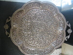 """Vintage .800 SILVER ROUND SERVING TRAY Beautiful & Detailed 838 grams 12"""""""