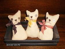 Primitive Handcrafted Cat Kitten Ornies Black Basket Fall Gathering