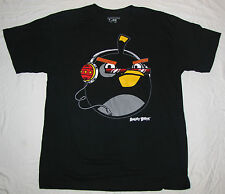 MENS T-SHIRT XXL 2X ANGRY BIRDS BLACK THE BOMB GRAPHIC TEE NOVELTY HEADPHONES!!!