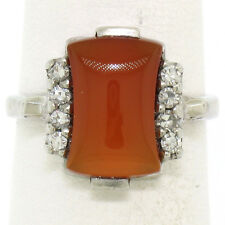 Antique 10K White Gold Carnelian Solitaire Ring w/ .22ctw Round Diamond Accents