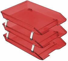 Acrimet Facility Triple Letter Tray Frontal (Clear Red Color)
