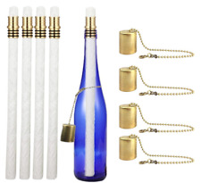 Wine Bottle Tiki Torch Kit 4 Pack Light Includes Long Life Wicks Holder Caps