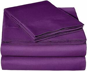 100% Cotton - Attached Waterbed Sheet Set 1000 TC All Size Purple Solid