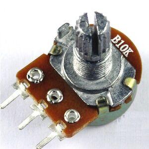 10pcs 10K Ohm B10K Knurled Shaft Linear Rotary Taper Potentiometer