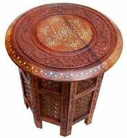 Indian Sheesham Wood Hand Carved Folding Side Table Decortaive BedSide Table