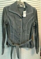 NWT CHICO'S SIZE 0 CHAMBRAY DENIM JENNAN Indigo JACKET Tie Coat Jacket Blazer