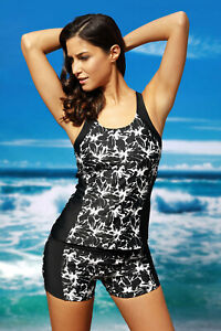 Women Floral Print Color Block Tank and Fitted Shorts Swimsuit 2 PC Tankini Set