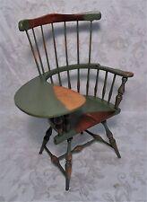 "Vintage Hand Carved Wood Old Windsor Writing Desk Chair Salesman Sample 15"" Tall"