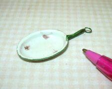 Miniature Aged Rustic Enamel Oval Omelette Pan/BEIGE, (TYPE 2) DOLLHOUSE 1:12