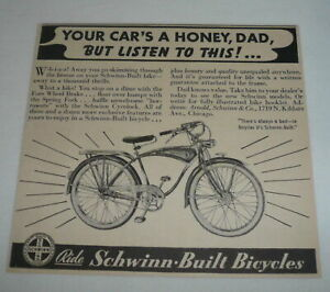 1940 SCHWINN bicycle ad ~ Your Car's A Honey, Dad, But...